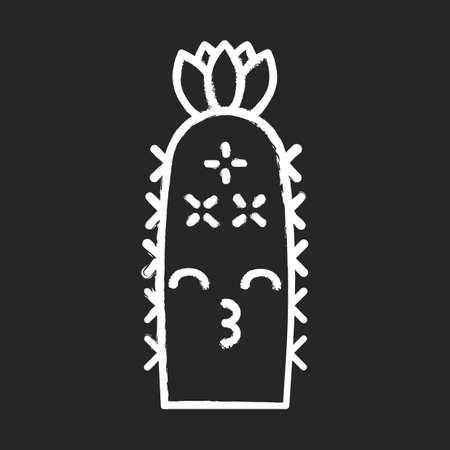 Hedgehog cactus chalk icon. Cactus with kissing face. Echinopsis with smiling eyes and flower. Wild cacti. Happy plant. Succulent plant. Houseplant. Isolated vector chalkboard illustration 일러스트