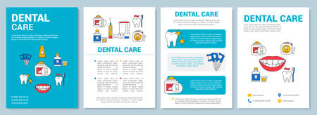 Dental care brochure template layout. Prevent tooth decay. Flyer, booklet, leaflet print design with linear illustrations. Vector page layouts for magazines, annual reports, advertising posters Ilustrace