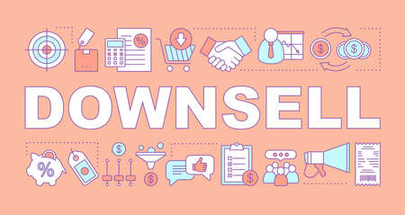 Downsell word concepts banner. Automated sales funnel. Lower decision threshold. Cheaper alternative. Presentation, website. Isolated lettering typography idea with linear icons. Vector illustration
