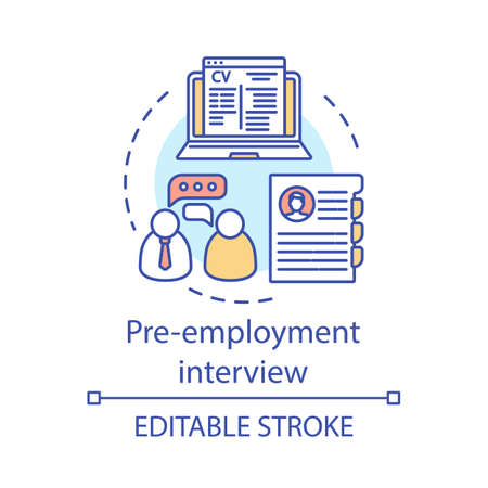 Pre-employment interview concept icon. Hr agency. Employment service, headhunting, getting job. Recruitment meeting idea thin line illustration. Vector isolated outline drawing. Editable stroke