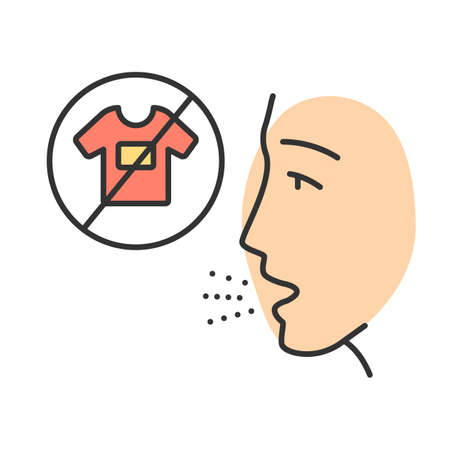 Clothing allergy color icon. Textile contact dermatitis. Man with sensitive skin. Allergic disease. Medical problem. Ban bright synthetic clothes. Reaction to fabrics. Isolated vector illustration 矢量图像