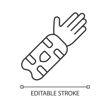 Cricket arm guard linear icon.  Body protection for batsman. Arm pad on hand. Protective clothing. Thin line illustration. Contour symbol. Vector isolated outline drawing. Editable stroke