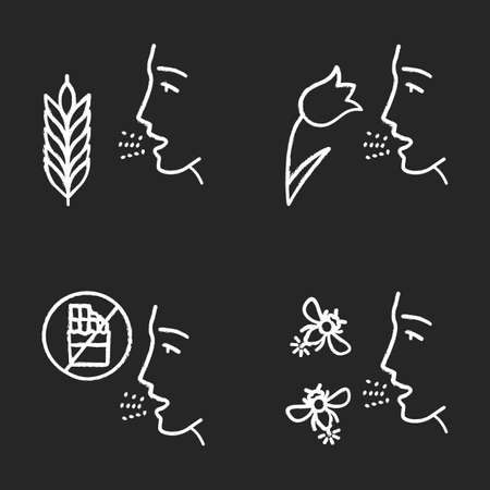 Allergies chalk icons set. Hay fever, allergy to food and insects stings. Sensitivity of immune system. Allergen sources. Medical problem. Cause of swelling. Isolated vector chalkboard illustrations