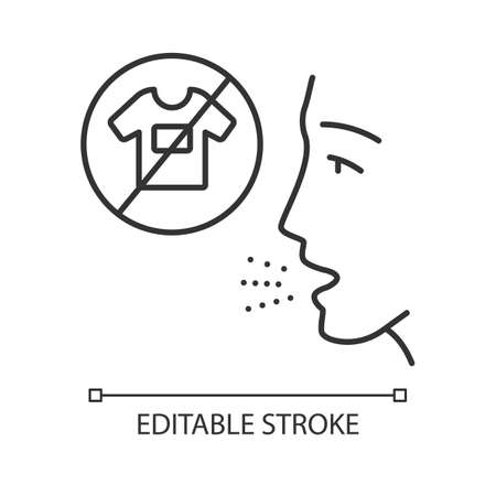 Clothing allergy linear icon. Textile dermatitis. Allergic disease. Medical problem. Reaction to fabrics. Thin line illustration. Contour symbol. Vector isolated outline drawing. Editable stroke