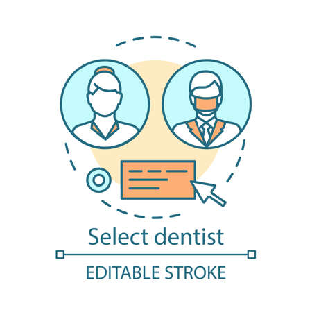 Select dentist concept icon. Choose physician. Feedback about medical care equality. Online consultation. Chat with doctor idea thin line illustration. Vector isolated outline drawing. Editable stroke