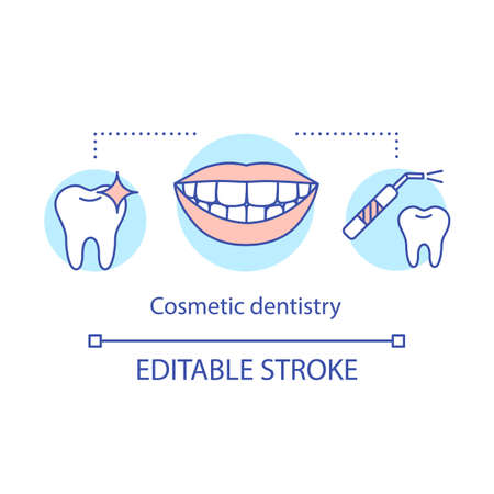 Cosmetic dentistry concept icon. Removal of tartar. Oral care. Dental therapy. Teeth whitening, polishing idea thin line illustration. Vector isolated outline drawing. Editable stroke