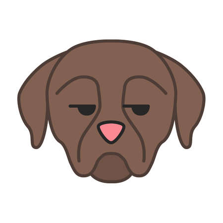 Rottweiler cute kawaii vector character. Dog with unamused muzzle. Unhappy domestic dog. Animal with eyes looking to side. Funny emoji, sticker, emoticon. Isolated cartoon color illustration