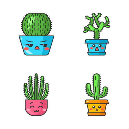 Cactuses cute kawaii vector characters. Plants with sad faces. Angry barrel cactus. Happy organ pipe cacti in pot. Teddy bear cholla. Funny emoji, emoticon set. Isolated cartoon color illustration
