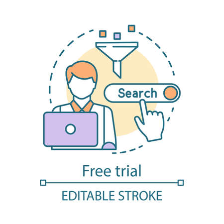 Free trial concept icon. SEO keyword tool subscription idea thin line illustration. Search engine optimization. Increasing visibility of website. Vector isolated outline drawing. Editable stroke