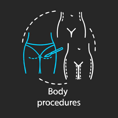 Body procedures chalk icon. Plastic and reconstructive surgery. Lifting. Body contouring operation. Cosmetic reshaping surgical treatment. Isolated vector chalkboard illustration