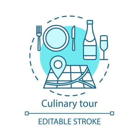 Culinary tour concept icon. Travel experience idea thin line illustration. National gastronomy. Cuisine of foreign country. Tasting local dishes. Vector isolated outline drawing. Editable stroke Иллюстрация