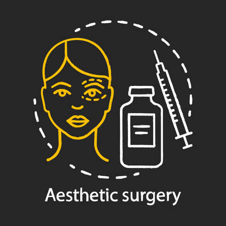 Aesthetic surgery chalk icon. Facial and body surgical operation. Reconstructive procedure. Appearance. Plastic surgery center service. Isolated vector chalkboard illustration