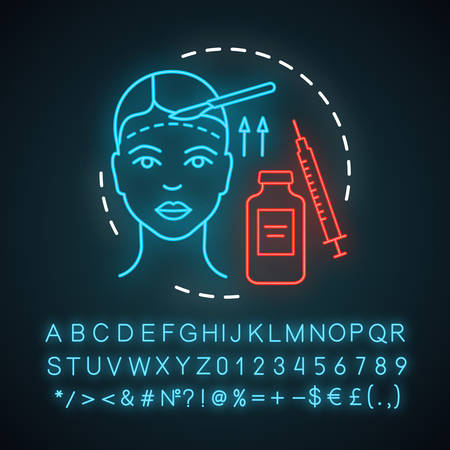 Forehead lift neon light icon. Reduce face wrinkle lines. Surgical procedure. Brow lift. Rejuvenation. Droopy eyelids. Glowing sign with alphabet, numbers and symbols. Vector isolated illustration Illustration