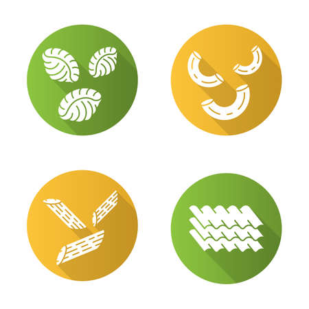 Pasta noodles flat design long shadow glyph icons set. Different Mediterranean macaroni. Shells, elbows, penne, lasagne sheets. Traditional Italian cuisine. Vector silhouette illustration