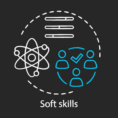 Soft skills chalk concept icon. Teamwork idea, personal growth. Interpersonal development, leadership, professional relationship. Human resources vector isolated chalkboard illustration