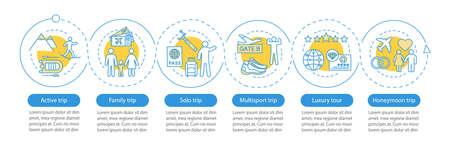 Modèle d'infographie vectorielle de styles de voyage. Éléments de conception de présentation d'entreprise. Tour de luxe. Visualisation des données avec six étapes et options. Diagramme de chronologie de processus. Disposition du flux de travail avec des icônes linéaires