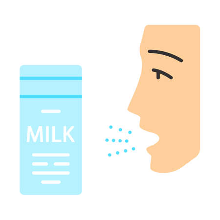 Milk allergy flat design long shadow color icon. Food allergy. Allergic reaction to milk proteins. Lactose intolerance. Medical problem. Allergens in dairy. Vector silhouette illustration