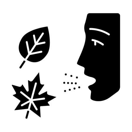 Fall allergy glyph icon. Seasonal allergy. Allergic reaction to ragweed, mold and dust mites. Respiratory disease in autumn. Silhouette symbol. Negative space. Vector isolated illustration Ilustração