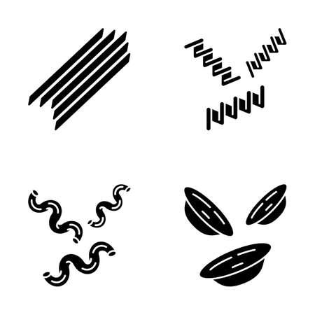 Pasta noodles glyph icons set. Spaghetti, fusilli, cavatappi, orecchiette. Italian food. Mediterranean macaroni. Culinary semi-finished products. Silhouette symbols. Vector isolated illustration