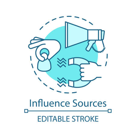 Influence sources turquoise concept icon. Customer attraction strategy idea thin line illustration. Clients retention. Advertising campaign. Marketing. Vector isolated outline drawing. Editable stroke