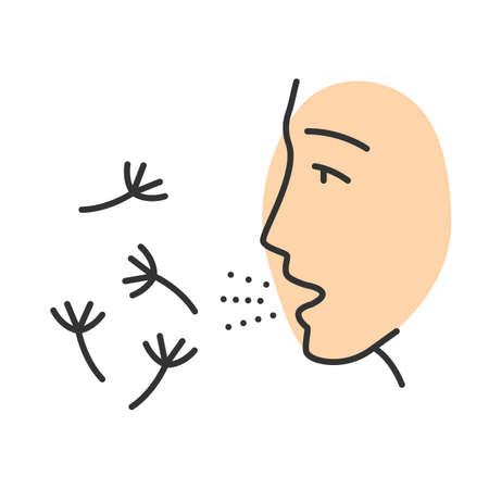 Summer allergy color icon. Hay fever. Seasonal disease. Allergic reaction to pollen. Allergens inhalation. Respiratory disease. Susceptibility airborne particles. Isolated vector illustration