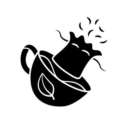 Reusable tea bag glyph icon. Zero waste recyclable container for tea infusing. Disposable paper bags for herbs infusion. Silhouette symbol. Negative space. Vector isolated illustration Imagens - 128329619