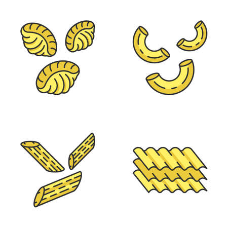 Pasta noodles color icons set. Different Mediterranean macaroni. Shells, elbows, penne, lasagne sheets. Types of dry dough products. Traditional Italian cuisine. Isolated vector illustrations