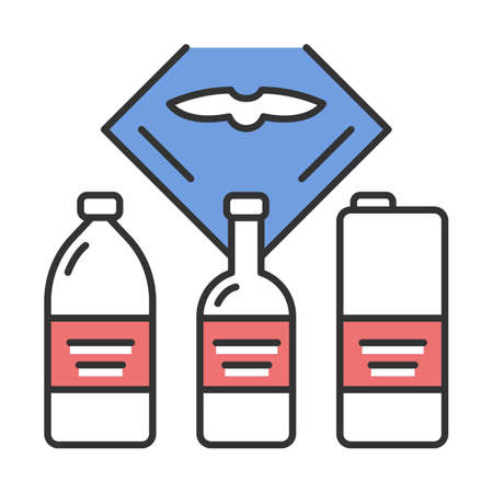 Flight drinks vector color icon. Pure water in bottle. Airplane alcohol. Plane nutrition. Jet menu. Aviation service. Aircraft travel. Journey amenity. Airline facilities. Isolated illustration Vecteurs