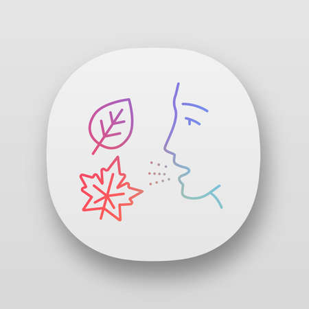 Fall allergy app icon. Seasonal allergy. Allergic reaction to ragweed, mold, dust mites. Respiratory disease in autumn. UIUX user interface. Web or mobile applications. Vector isolated illustrations Ilustração