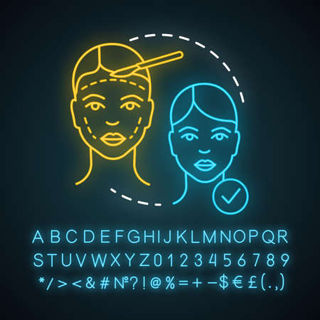Craniofacial surgery neon light icon. Surgical subspecialty. Head, face deformities. Plastic and reconstructive surgery. Glowing sign with alphabet, numbers and symbols. Vector isolated illustration