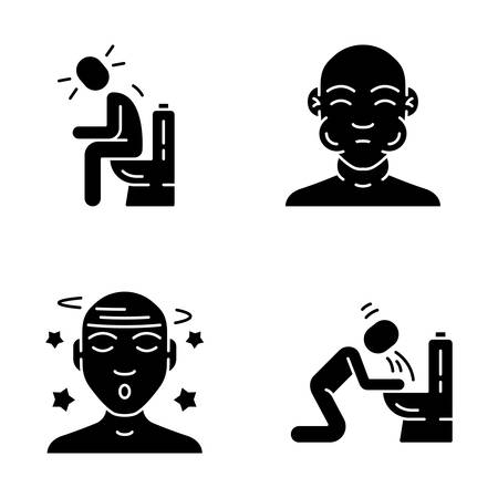 Food poisoning, allergy glyph icons set. Fatigue, malaise, vertigo illness. Mumps, flu symptoms. Silhouette symbols. Vomiting, diarrhea, constipation allergic reaction. Vector isolated illustration 일러스트