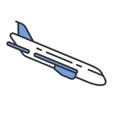Plane flying down color icon. Airplane put-down. Jet lowers altitude. Air terminal. Aviation service. Aircraft travel. Jetliner. Airliner journey. Isolated vector illustration