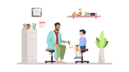 Neurologist examining kid flat vector illustration. Doctor, young patient isolated cartoon characters on white background. Happy child at hospital, clinic. Medical check, childcare, pediatrician Stock Illustratie