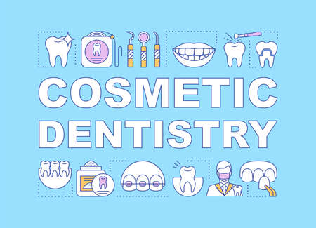 Cosmetic dentistry word concepts banner. Orthodontics. Teeth restoration and oral hygiene. Presentation, website. Isolated lettering typography idea with linear icons. Vector outline illustration Illustration