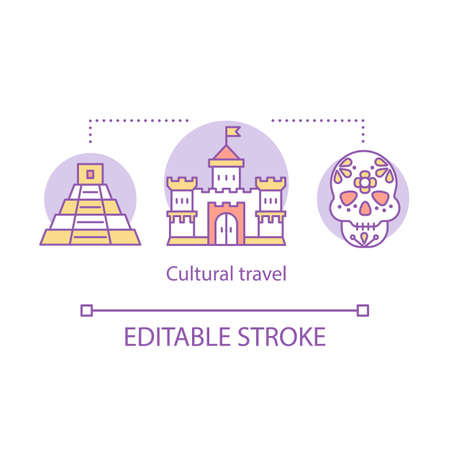Cultural travel concept icon. Travel experience idea thin line illustration. Customs and traditions of foreign culture. Local sightseeing. Vector isolated outline drawing. Editable stroke Иллюстрация