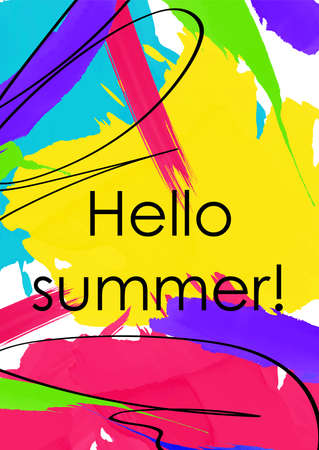 Hello summer abstract colorful banner template. Holidays, vacation message on vibrant brushstrokes background. Chaotic paint smudges postcard design layout.T-shirt print with freehand black ink lines