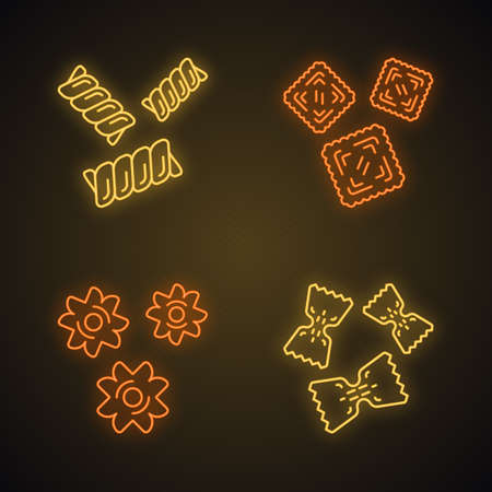 Pasta noodles types neon light icons set. Macaroni different shapes. Gemelli, ravioli, stele, farfalle. Mediterranean cuisine. Traditional Italian food. Glowing signs. Vector isolated illustrations 일러스트