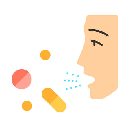 Drug allergies flat design long shadow color icon. Allergic reaction to medicine. Hypersensitivity of immune system. Allergy medications. Medical problem. Vector silhouette illustration