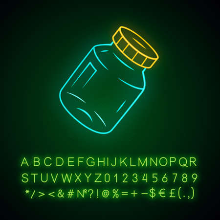 Refillable spice jar neon light icon. Reusable container for pepper, salt. Eco-friendly glassware, mason jar. Glowing sign with alphabet, numbers and symbols. Vector isolated illustration