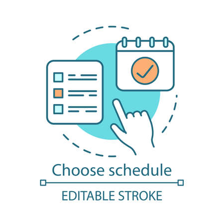 Choose schedule concept icon. Drawing up plan affairs. Important reminder. Successful implementation of strategy idea thin line illustration. Vector isolated outline drawing. Editable stroke Stock Illustratie
