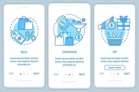 Rabatte und Boni Abonnement Onboarding mobiler App-Seitenbildschirm mit linearen Konzepten. Drei exemplarische Schritte mit grafischen Anweisungen. Basic, VIP-Tarif. UX, UI, GUI-Vektorvorlage mit Illustrationen