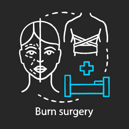 Burn surgery chalk icon. Burn and wound treatment. Reconstructive plastic surgery. Plastic surgery center service. Cosmetic surgery. Isolated vector chalkboard illustration