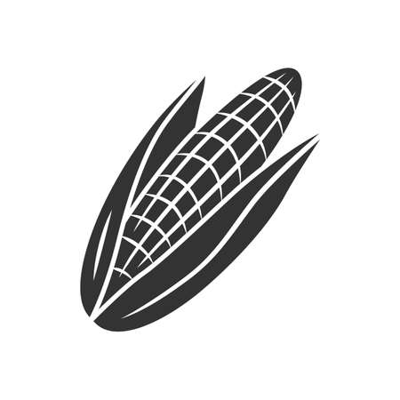Corn glyph icon. Maize. Agriculture plant. Popcorn ingredient. Vegetable farm. Healthy nutrition. Vitamin. Vegan food. Vegetable farm. Silhouette symbol. Negative space. Vector isolated illustration Stock Illustratie