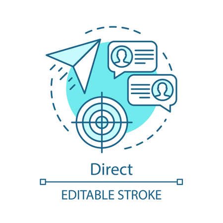 Direct marketing turquoise concept icon. Message sending  idea thin line illustration. Chatting vector isolated outline drawing. Email and sms marketing, correspondence, communication. Editable stroke
