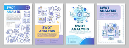 SWOT analysis brochure template layout. Flyer, booklet, leaflet print design with linear illustrations. Evaluating, assessment vector page layouts for magazines, annual reports, advertising posters