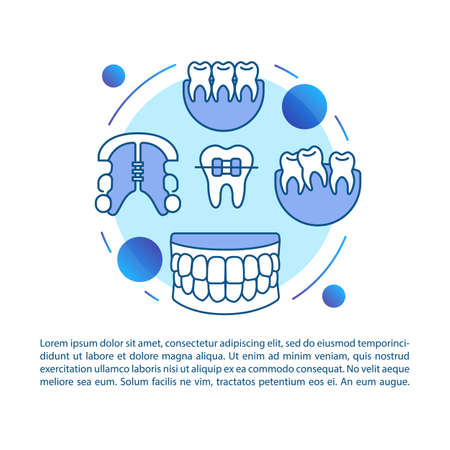 Orthodontics article page vector template. Cosmetic bite correction. Brochure, magazine, booklet design element with linear icons and text boxes. Print design. Concept illustrations with text space