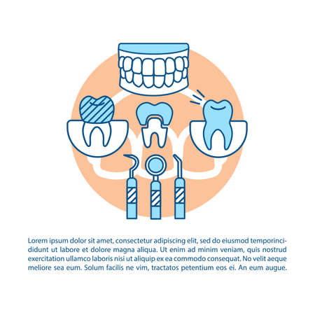 Dentistry article page vector template. Dental teeth restoration. Brochure, magazine, booklet design element with linear icons and text boxes. Print design. Concept illustrations with text space