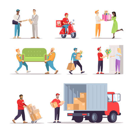 Delivery service workers flat illustrations set. Couriers, loaders, errand boys isolated cartoon characters. Moving house, relocation specialists. Flower shop, grocery store, pizza express delivery Vector Illustratie