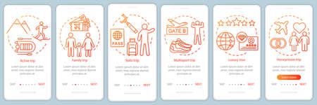 Styles de voyage à bord de l'écran de la page de l'application mobile avec des concepts linéaires. Voyage en solitaire. Instructions graphiques en six étapes. Circuit luxe et multisports. Modèle vectoriel UX, UI, GUI avec illustrations Vecteurs