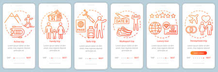 Travel styles onboarding mobile app page screen with linear concepts. Solo trip. Six walkthrough steps graphic instructions. Luxury and multisport tour. UX, UI, GUI vector template with illustrations Banque d'images - 129558021